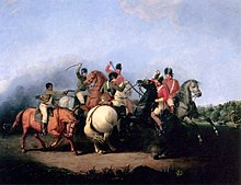 Een close-up van een cavalerie-melee op grote paarden met getrokken sabels en pistolen;  Drie roodjassen midden-rechts nemen het op tegen twee patriotten in het blauw, samen met een Afro-Amerikaan in een bruin linnen overhemd en een witte broek, met zijn pistool getrokken en geëgaliseerd naar een roodjas.