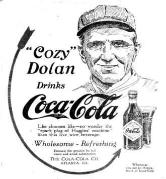 Cozy Dolan (1910s outfielder) - Coca-Cola ad from 1915 with Dolan.