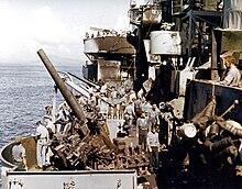 Crew Clean Up Nashville S Port 5 Inch Gun Battery After The Kamikaze Hit