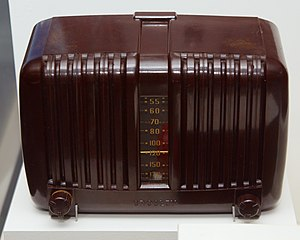 "Powel Crosley Jr. - A Crosley radio from the late 1930s. Note that the ""70"" setting is marked ""WLW,"" for the station owned by Crosley"
