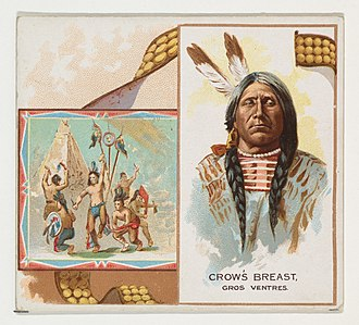 Cigarette card - A Gros Ventre Chief featured on a Allen & Ginter card, 1888