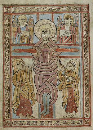 St. Gall Gospel Book - Crucifixion in the St. Gall Gospel Book