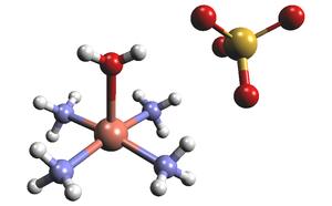 Tetraamminecopper(II) sulfate - Image: Cu N4aq