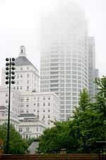 Cudahy Tower and University Club Tower in fog.jpg