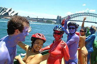 Body art - Image: Cyclists travel across Sydney Harbour on their way to the Sydney Body Art Ride charity event