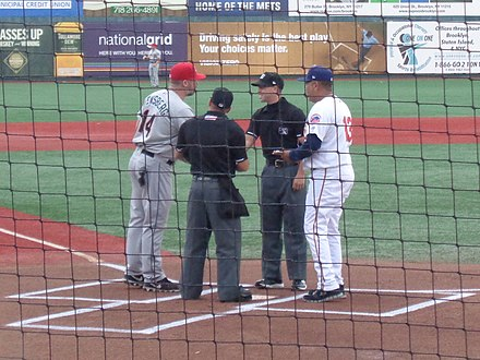 Umpires and managers prior to a New York-Penn League game in August 2017 Cyclones vs ValleyCats 08-03-17 11.jpg