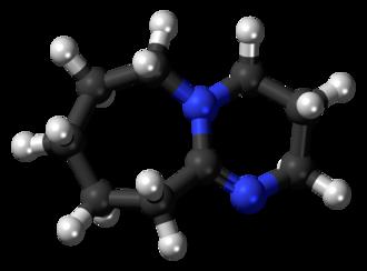 1,8-Diazabicyclo(5.4.0)undec-7-ene - Image: DBU 3D balls
