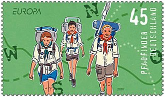 Deutsche Pfadfinderschaft Sankt Georg - Commemorative stamp of the Deutsche Post on the centenary of Scouting in 2007, depicting a Senior Scout and two Rover Scouts.