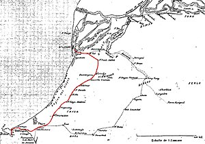 Dakar–Saint-Louis railway - The line shown on a 1901 map