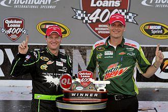 Steve Letarte - Letarte (right) with Dale Earnhardt, Jr. after winning the 2012 Quicken Loans 400