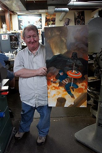 Dave Dorman - Dave Dorman with his Captain America v. Darth Vader painting 2011