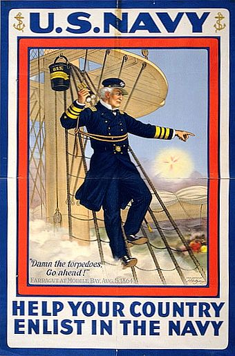 A World War I recruitment poster featuring David Farragut at Mobile Bay David Farragut WWI poster.jpg