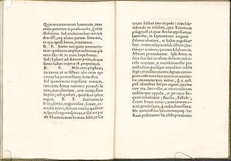 Garamond - A page spread from the book De Aetna, printed by Aldus Manutius in 1495. It would become influential in French printing from the 1530s.