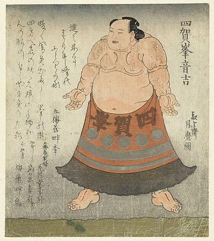 1819 illustration of the sumo wrestler Shiganomine Otokichi – Japanese Sumo Wrestling