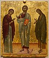 Deesis, Christ between Mary and John the Baptist, Crete, Late Byzantine, early 1500s, tempera and gold leaf on wood panel - Princeton University Art Museum - DSC06702.jpg