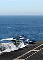 Defense.gov News Photo 101114-N-4005H-120 - An F A-18E Super Hornet assigned to Strike Fighter Squadron 147 launches from the aircraft carrier USS Ronald Reagan CVN 76 after completing a.jpg