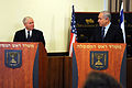 Defense.gov News Photo 110325-D-XH843-001 - Secretary of Defense Robert M. Gates conducts a joint press conference with Israeli Prime Minister Binyjamin Netanyahu in the Dan Cesarea Hotel in.jpg
