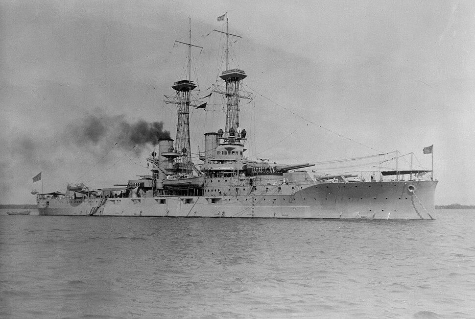Delaware (BB28). Starboard bow, Guantanamo Bay, 01-01-1920 - NARA - 512950