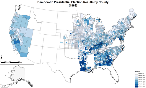 Map of Democratic presidential election results by county