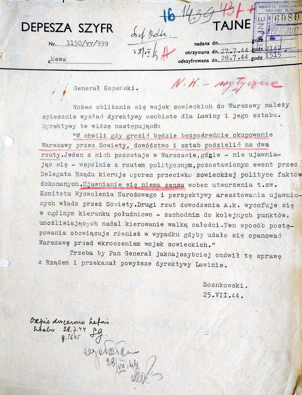 Depesza Kazimierza Sosnkowskiego 25.07.1944