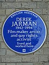 Derek Jarman 1942-1994 Film-maker, artist and gay rights activist lived and worked here.jpg