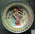 Deruta o gubbio, piatto con decoro a denti di lupo e stemma montefeltro, ante 1508.JPG
