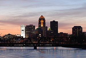 Des Moines, Iowa, USA Skyline at Sundown.