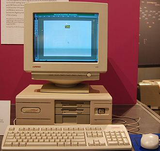 Compaq Deskpro - The Compaq DeskPro 386S currently on display at the Living Computer Museum in Seattle, Washington. Microsoft PowerPoint is running on the computer.