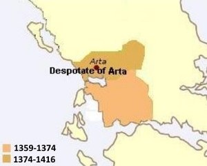 Despotate of Arta - Map of the Despotate of Arta
