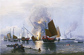 Victorian era - The East India Company steamship Nemesis (right background) destroying Chinese war junks in the Second Battle of Chuenpi on 7 January 1841 during the First Opium War between Britain and the Qing dynasty.