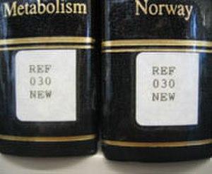 Melvil Dewey - Spine labels showing Dewey Decimal Classification call numbers.