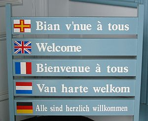 Guernésiais - Guernésiais tops this list of welcome messages at Guernsey's tourism office in Saint Peter Port