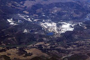 Sisquoc Formation - Diatomite quarries near Lompoc, California (2009), are a major source of diatomaceous earth.