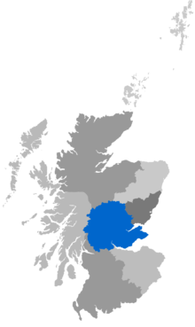 Map showing the Diocese of St Andrews as a coloured area covering Fife and Perthshire