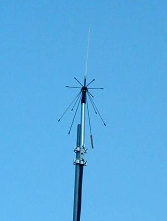 Discone antenna - Mounted discone antenna designed for VHF and UHF coverage.