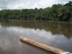 Dja River and pirogue.JPG