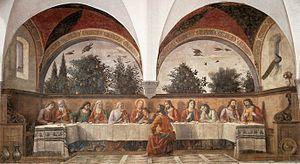 The Last Supper (Ghirlandaio) - Image: Domenico ghirlandaio, cenacolo di ognissanti 01