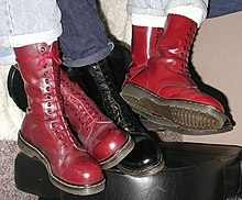 187b02544cfb Cherry Red and Black 14-hole Dr. Martens boots. The ...