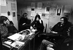 Canada and the Vietnam War - Mark Satin (left) counseling American Vietnam War evaders at the Anti-Draft Programme office in Toronto, 1967.