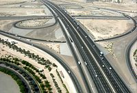 This is an aerial view of the interchange of E...