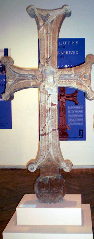 Dvin (ancient city) - A 2-meter long cross excavated from the site of Dvin