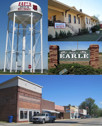 "Earle, Arkansas - Clockwise from top: Crittenden County Historical Museum, Earle welcome sign, downtown Earle along US 64B, ""Home of the Bulldogs"" water tower"
