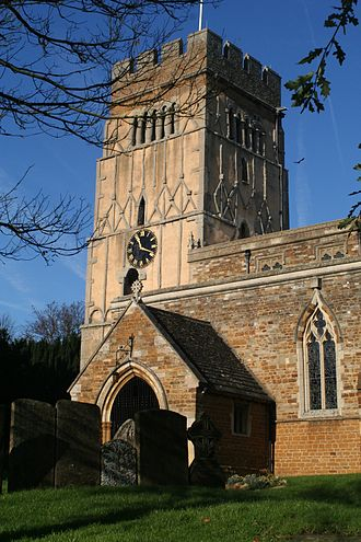 Distinctive Anglo-Saxon pilaster strips on the tower of All Saints' Church, Earls Barton EarlsBartonChurch.JPG
