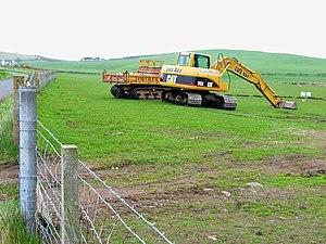 English: Earth moving down on the farm. Seen f...