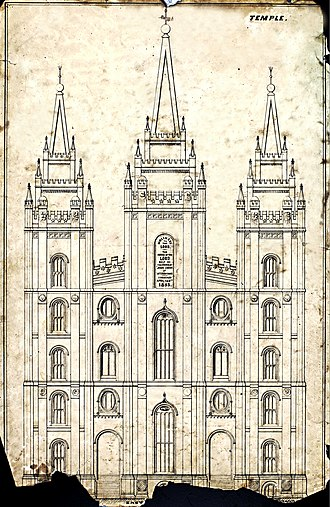 Salt Lake Temple - Original 1854 design of the East side showing the horizontal angel, sun faces, earth details, and compass and square window details. These elements were later modified or removed.