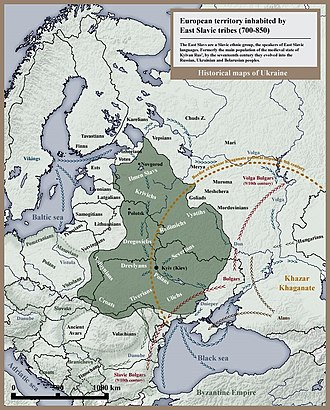 East Slavs - Maximum extent of European territory inhabited by the Kievan Rus' (predecessors of the East Slavs) in the 8th and 9th century.