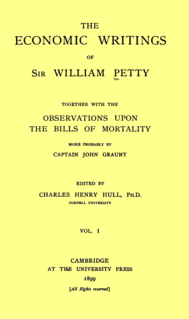 <i>The Economic Writings of Sir William Petty</i> collection of texts written by Sir Willliam Petty, in two volumes
