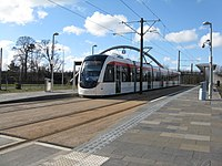 Edinburgh tram at Gogarburn (geograph 3377522).jpg