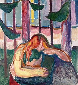 Love and Pain (painting) - Vampire in the Forest by Edvard Munch
