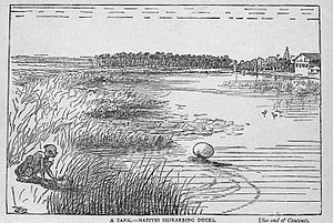 Edward Hamilton Aitken - Illustration of Indian waterfowl hunting technique from The Tribes on My Frontier
